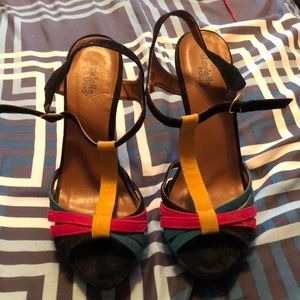 Colorful t-strap wedges
